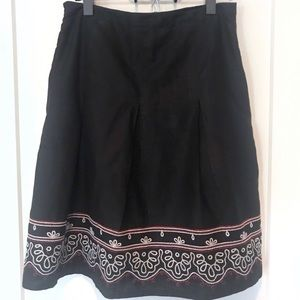 Ann Taylor LOFT Embroidered Black Skirt